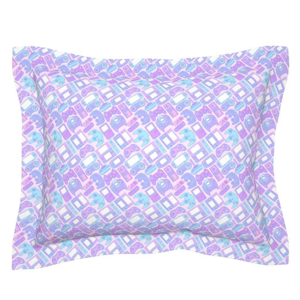 Sebright Pillow Sham featuring Video Game Controllers in Pastel Colors by spookishdelight