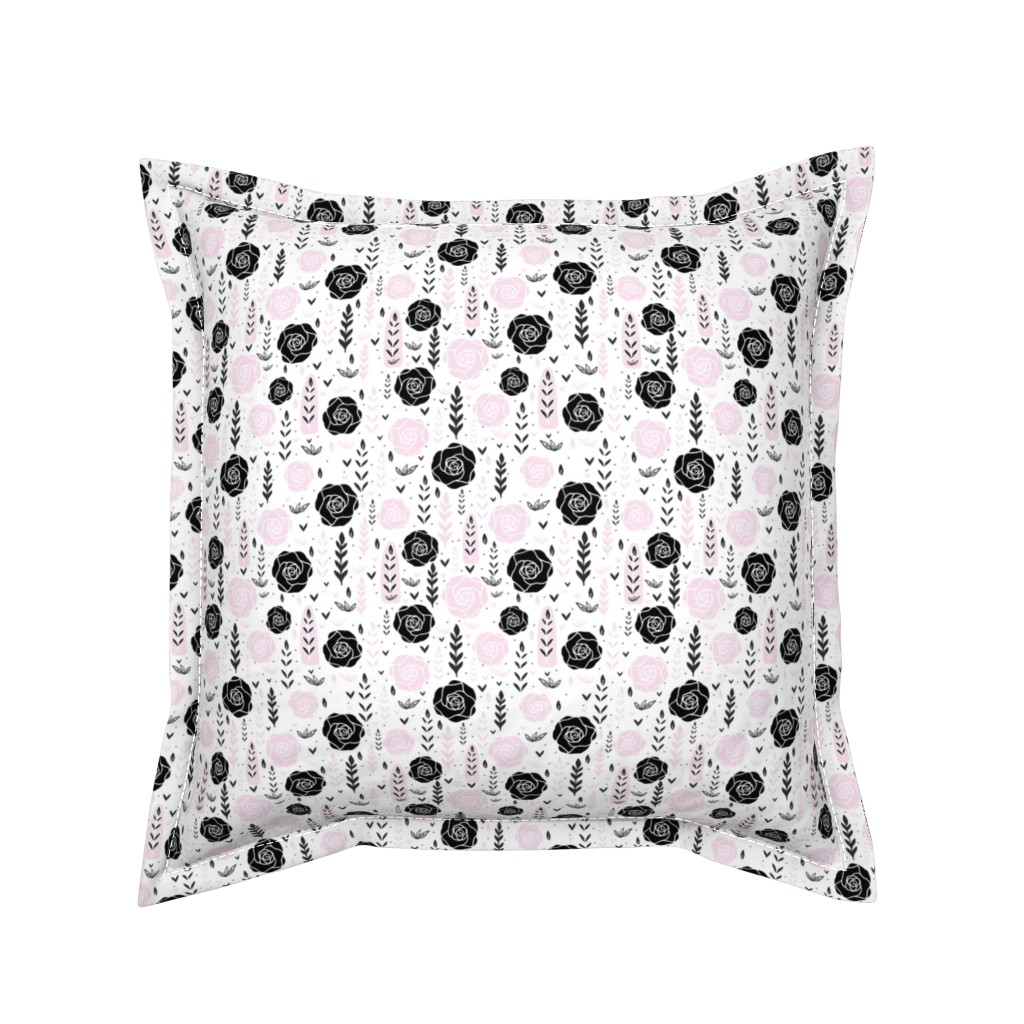 Serama Throw Pillow featuring Floral Black Rose Vector Pattern  by limolida