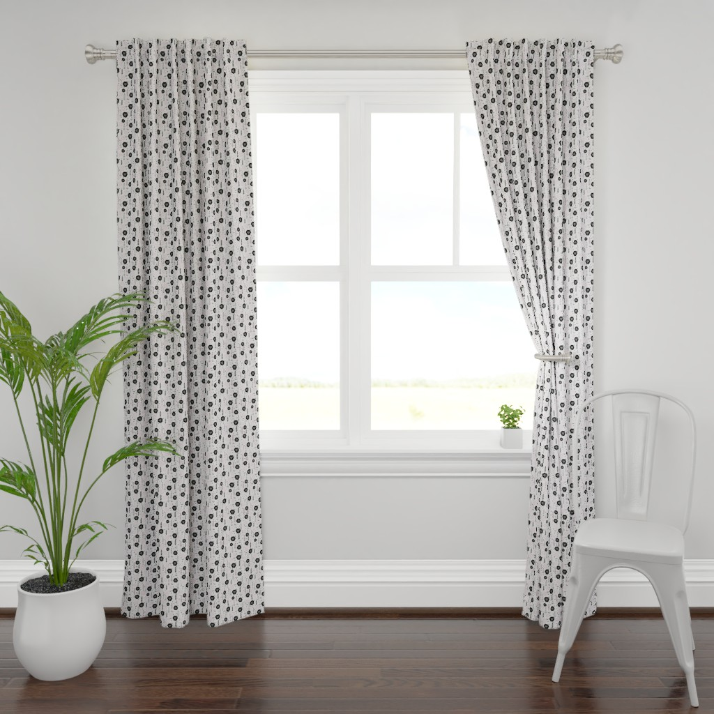 Plymouth Curtain Panel featuring Floral Black Rose Vector Pattern  by limolida