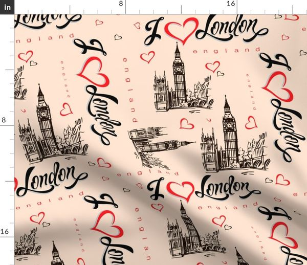 Fabric By The Yard I Love London England Lettering Heart Big Ben Sketch