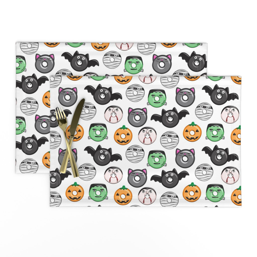 Lamona Cloth Placemats featuring halloween donut medley - white - monsters pumpkin frankenstein black cat Dracula  by littlearrowdesign