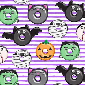 halloween donut medley - purple stripes - monsters pumpkin frankenstein black cat Dracula