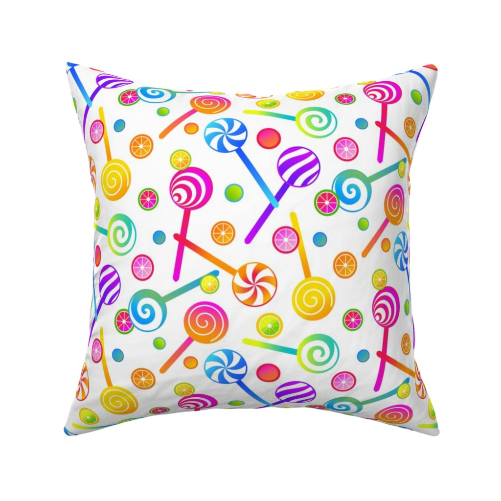 Catalan Throw Pillow featuring Lollipops and Fruit Candies by ileneavery