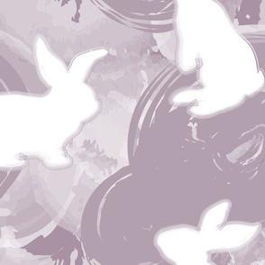 White Bunnies on Purple