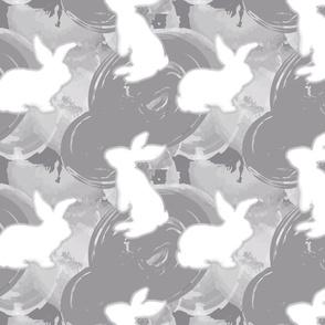 White bunnies on Gray