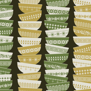 vintage pyrex - green and yellow