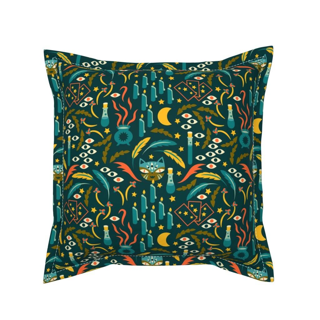 Serama Throw Pillow featuring Magic Cat by tamara_lance