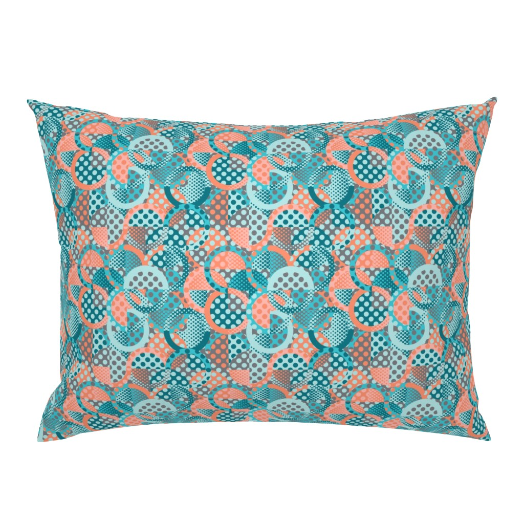 Campine Pillow Sham featuring circle circle dot dot in peach and teal by groundnut_apiary