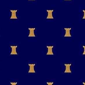 Golden Towers on Dark Blue