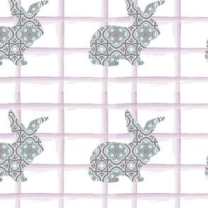 Floral Bunny on Stripes