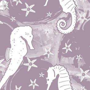Seahorses and Starfish on Purple