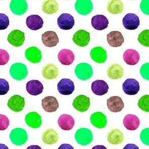 Green and purple watercolor polka dot