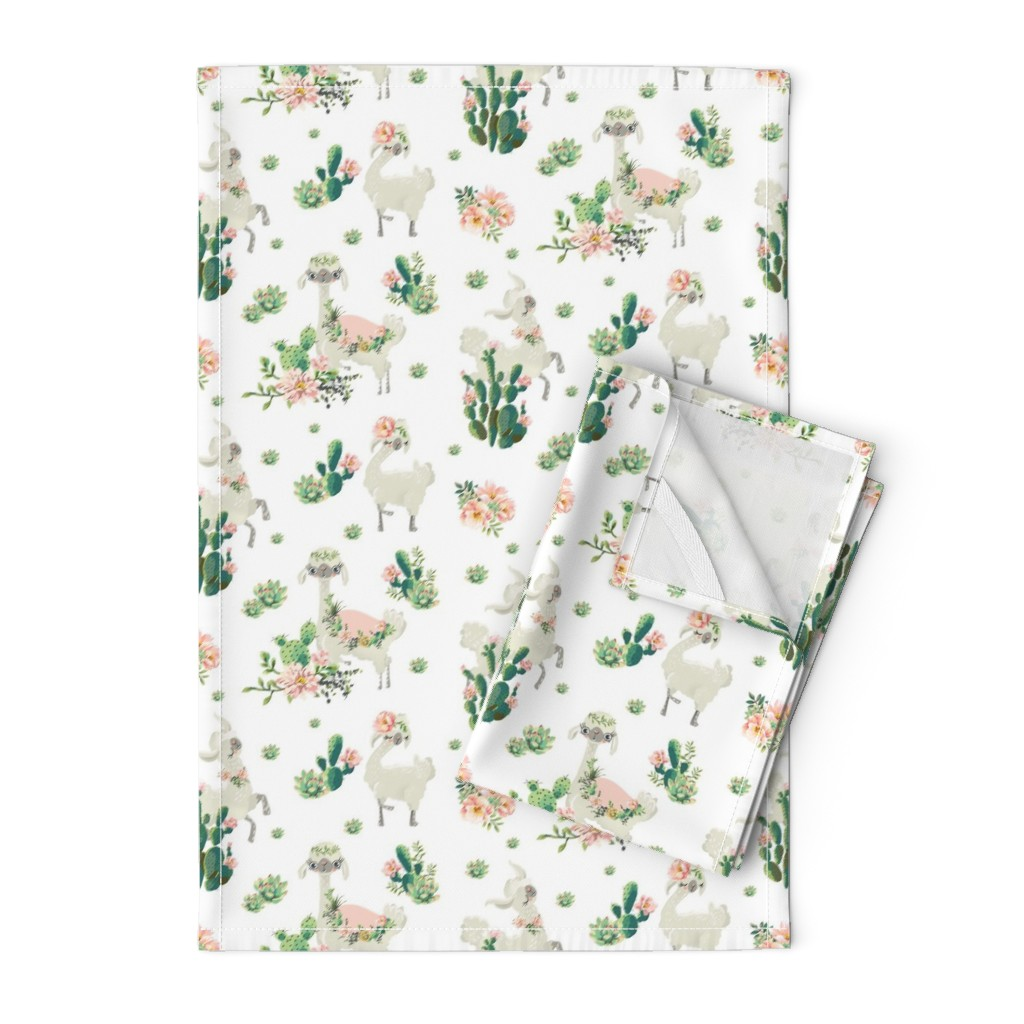 """Orpington Tea Towels featuring 8"""" Cactus Floral Llama - White by shopcabin"""