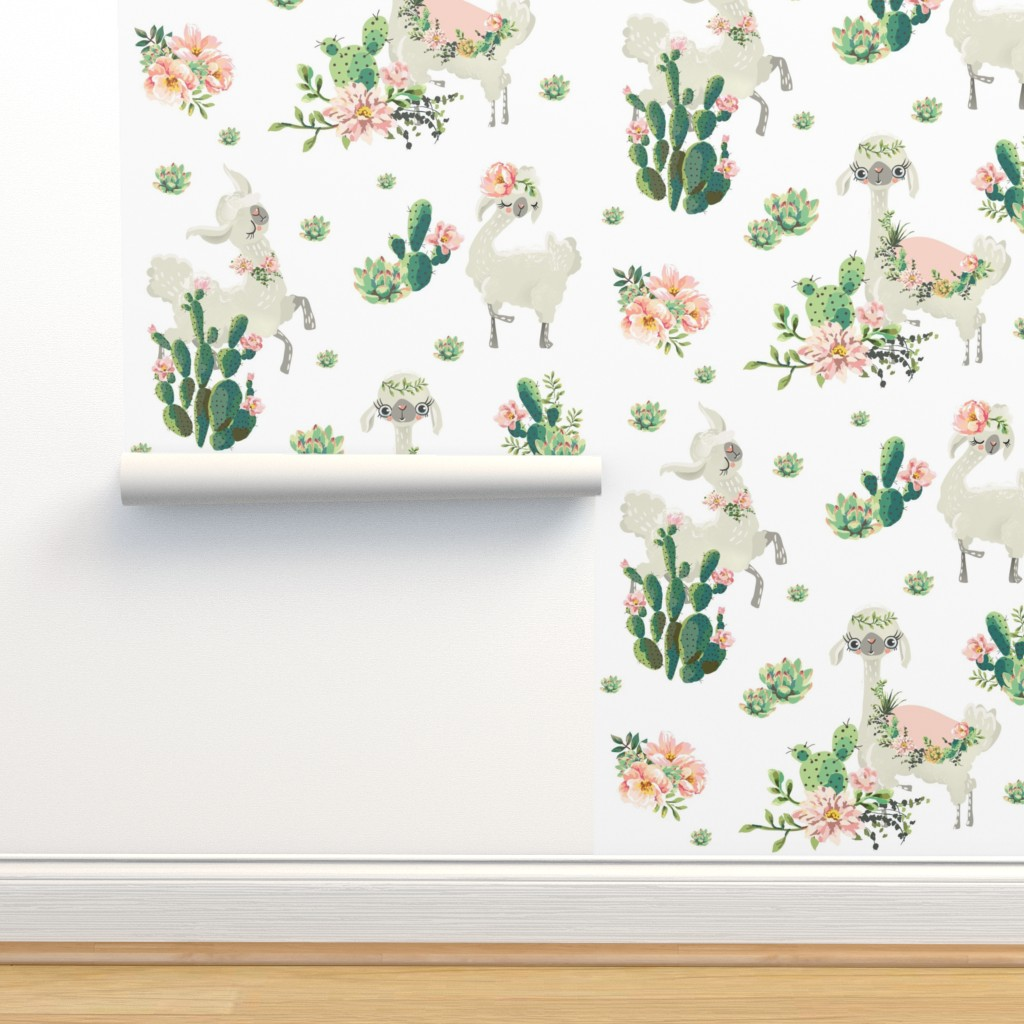"Isobar Durable Wallpaper featuring 8"" Cactus Floral Llama - White by shopcabin"