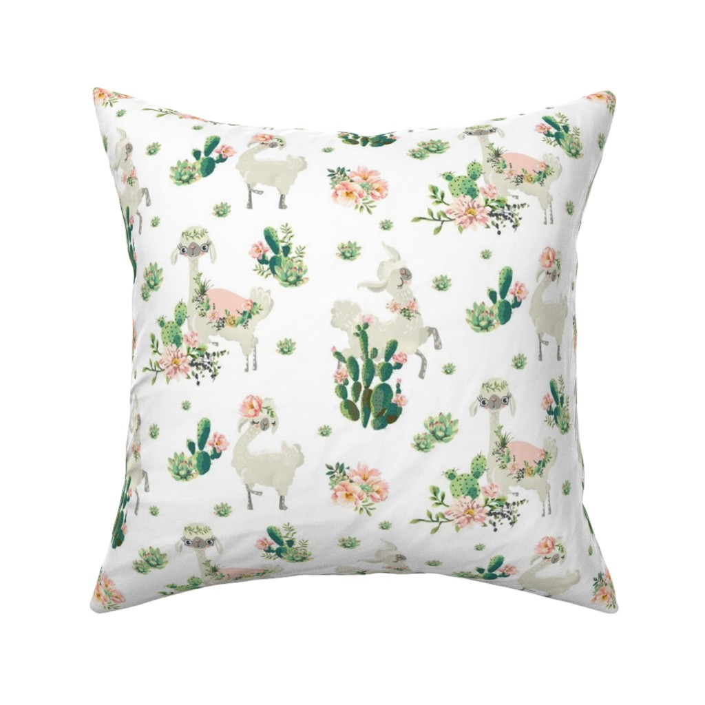 """Catalan Throw Pillow featuring 8"""" Cactus Floral Llama - White by shopcabin"""