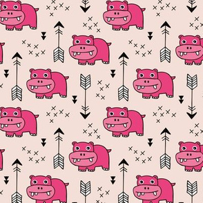 Cute little baby hippo kids fabric design in pink SMALL