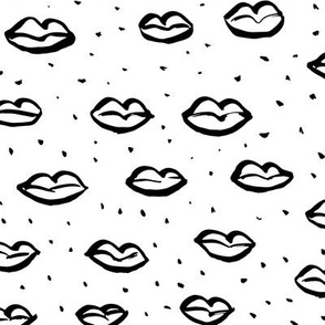 Love l'amour kiss poppy lips raw ink drawing wedding and valentine theme monochrome black and white