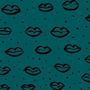 Love l'amour kiss poppy lips raw ink drawing wedding and valentine theme teal dark blue