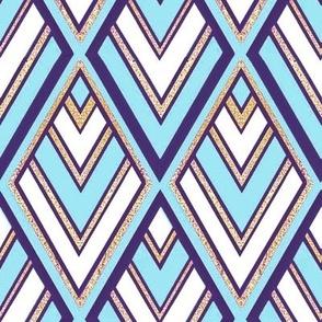 1920s Art Deco Diamond Blue // geometric