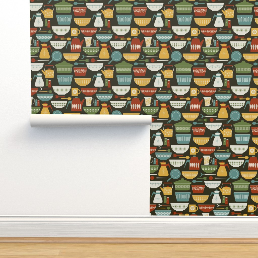 Isobar Durable Wallpaper featuring vintage kitchen by diseminger