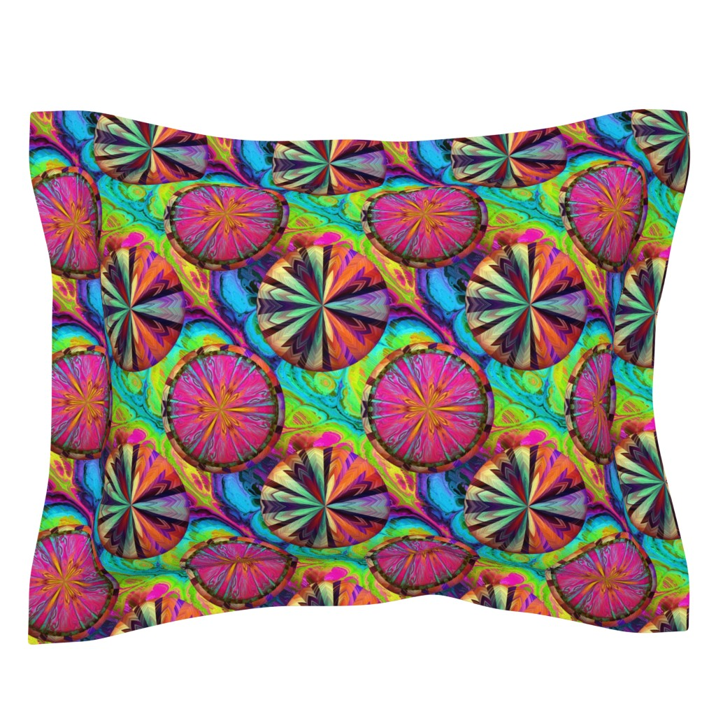 Sebright Pillow Sham featuring PSYCHEDELIC CIRCLE WHEELS CHEVRON AND MARBLE by paysmage