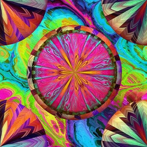 PSYCHEDELIC CIRCLE WHEELS CHEVRON AND MARBLE