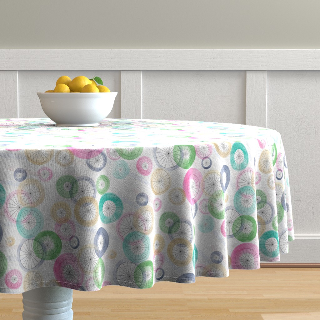 Malay Round Tablecloth featuring Watercolor Wheels by stasiajahadi