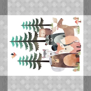 "42""x36"" Panel – Gray Woodland Critters Blanket, Nursery Bedding, Bear Moose Wolf Raccoon Fox Pine Trees"