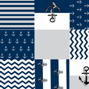 Anchor Quilt 21 wholecloth -gray  white blue
