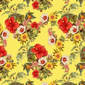 summer flowers on yellow