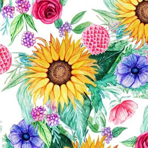 Sunflower, dahlia, rose, anemone and beauty berry floral in watercolor