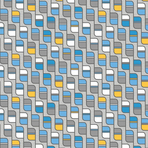 mid century geometric rectangles in blue and yellow