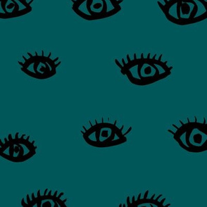 Watch me watching you pop minimal trend eyes eye lashes raw drawing ink green blue petrol
