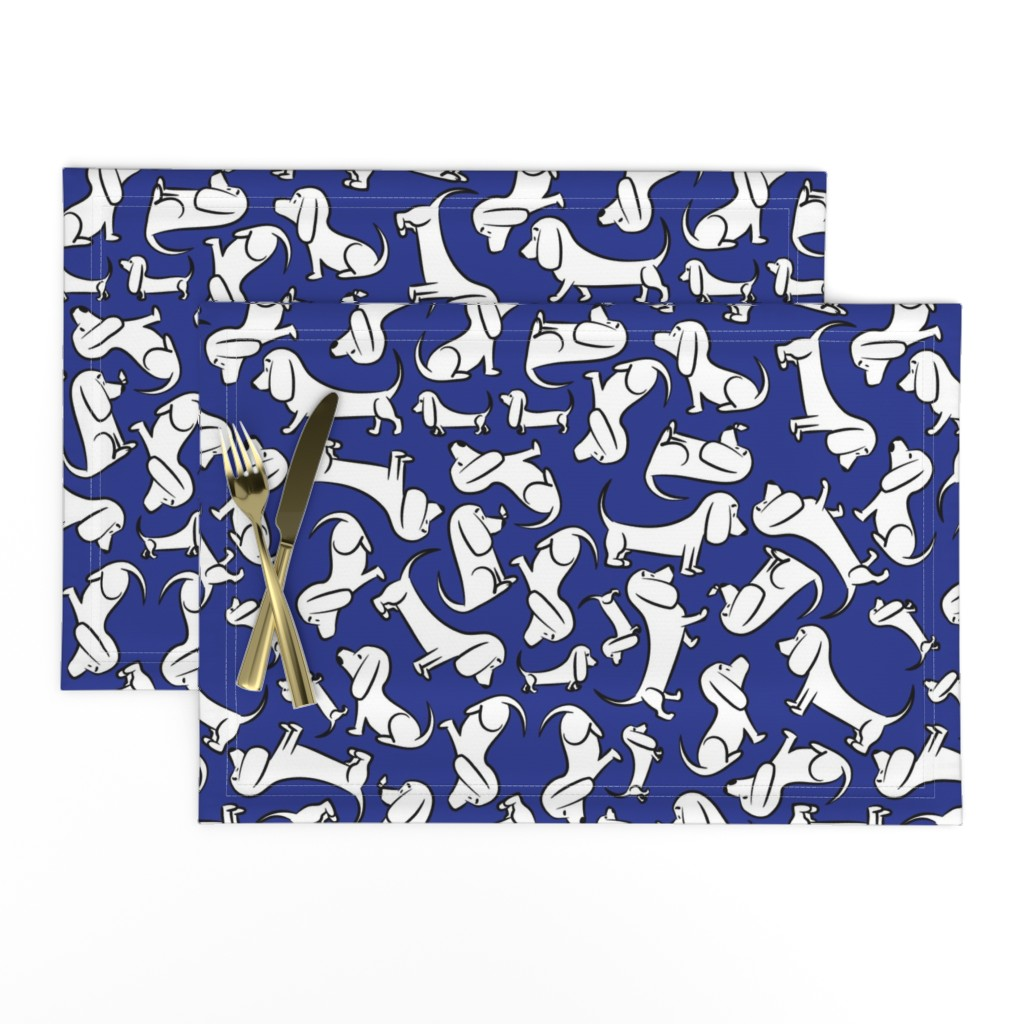 Lamona Cloth Placemats featuring Doodle Bassets - Blue by robyriker