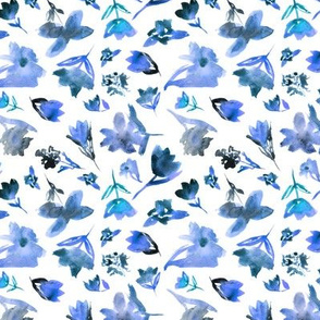 Blue watercolor floral pattern