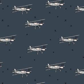 Little pilot airplane illustration aviator winter theme boys stone blue