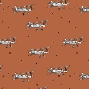 Little pilot airplane illustration aviator winter theme boys copper brown