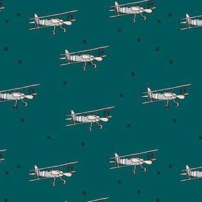Little pilot airplane illustration aviator winter theme boys petrol