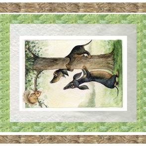 Dachshunds & Squirrel Blanket Panel Izmaylova