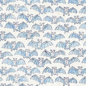 Tiny Blue Batty Bats | Peach Dots on White