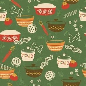 Vintage Pasta Party on Green Micro Print