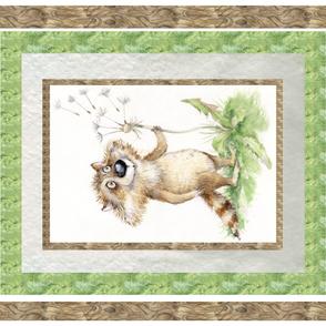 Cute raccoon blanket panel Dandelion Izmaylova,unisex
