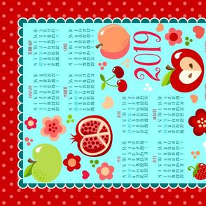 2019 Cutie Fruities Blue Red Tea Towel