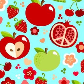 Cutie Fruities on Blue