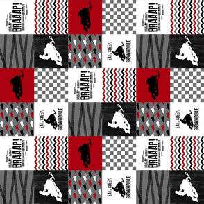 3 inch Eat Sleep Snowmobile//Red - Wholecloth Cheater Quilt - Rotated