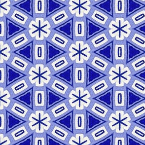 Kawaii hand-painted blue and white mosaic