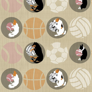 XL Sports Dog favorite round things - linen