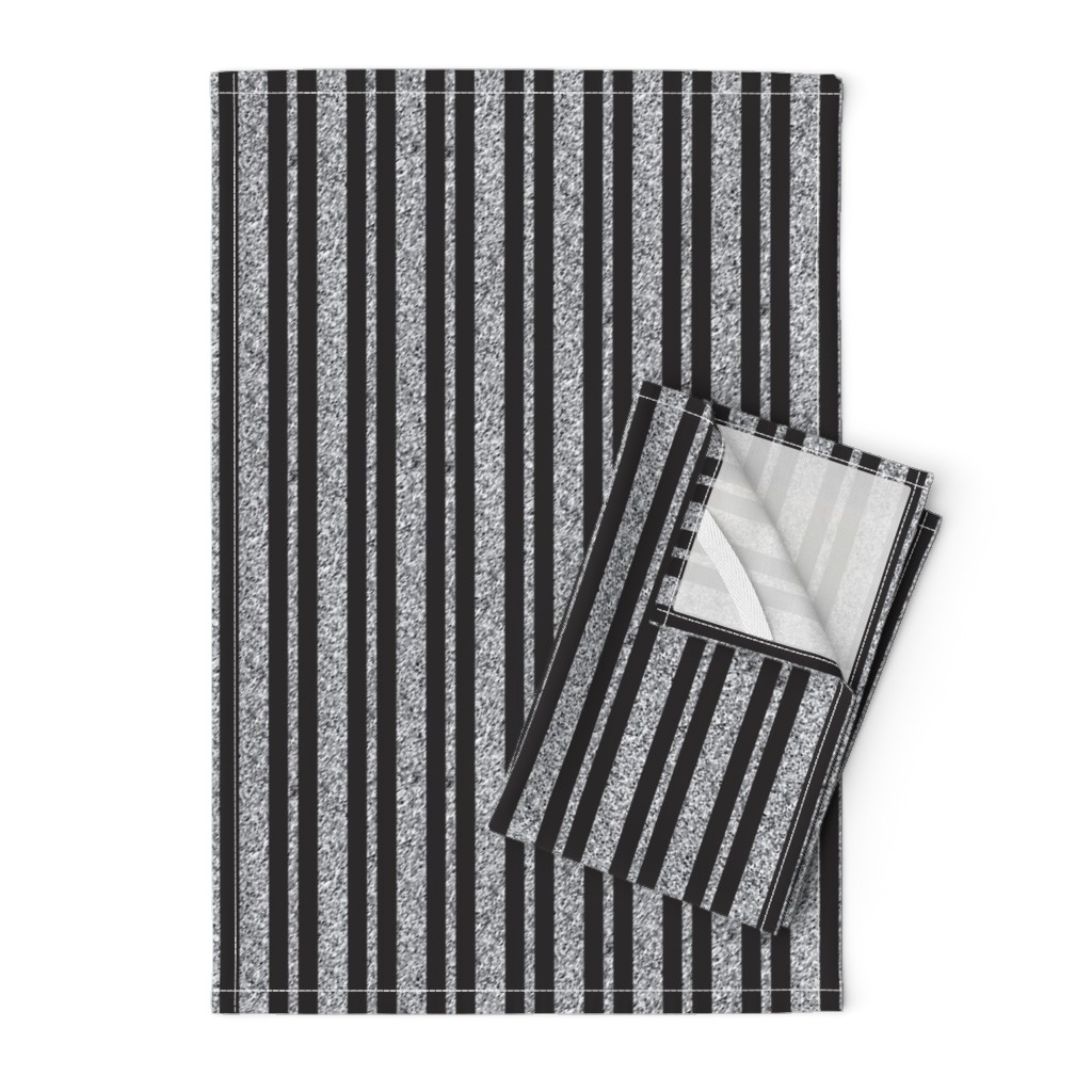 Orpington Tea Towels featuring CD25 - Speckled Grey and Charcoal Stripes - Vertical by maryyx