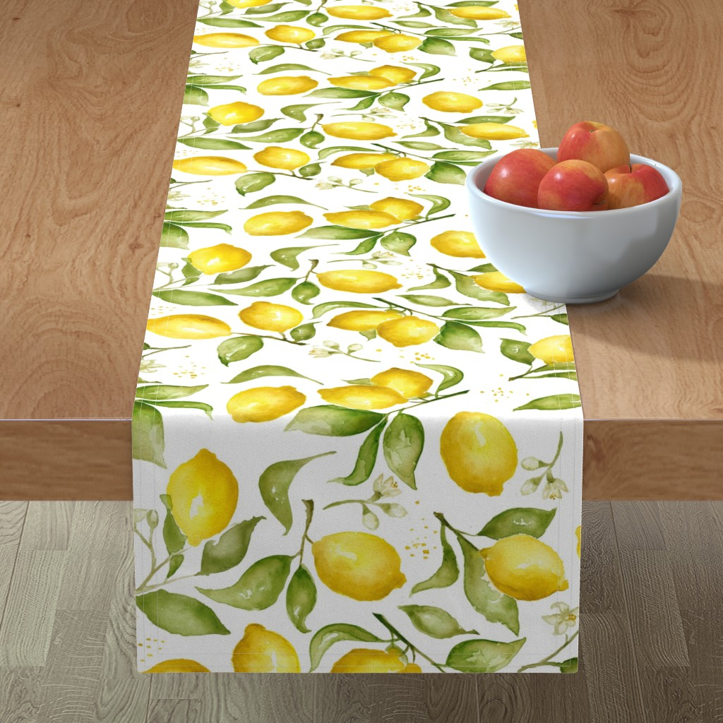 Minorca Table Runner featuring Lemon Blossoms by laurapol