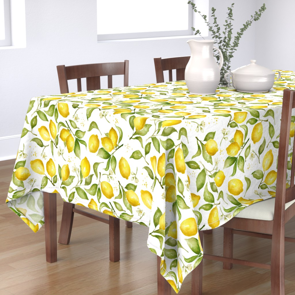 Bantam Rectangular Tablecloth featuring Lemon Blossoms by laurapol